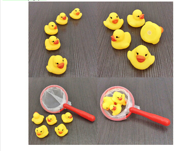 Free Shipping 5 Pcs/Bag Baby Kid Cute Bath Rubber Ducks Children Squeaky Ducky Water Play Toy ZW559(China (Mainland))