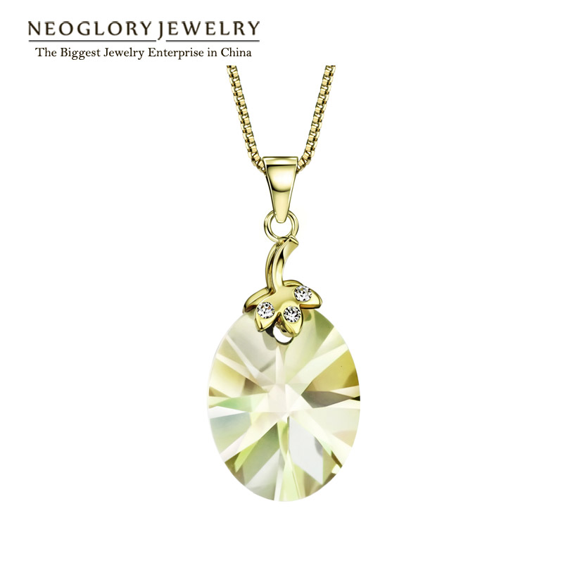Neoglory 14K Gold Plated Austrian Crystal Cute Necklaces & Pendants Gifts for Girl Brand 2016 New Birthstone Fashion Jewelry JS9(China (Mainland))