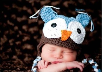 Retail Baby Crochet Beanies OWl Hat / Infant Knitted Cap Mixed Color (SY-68)