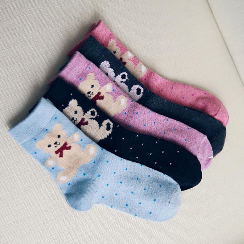 kawaii cute lovely little bear winter warm socks for women wool nylon mixed material sock for