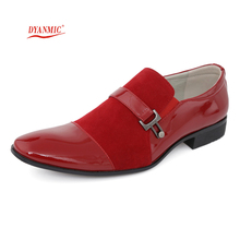 DYANMIC Italian Fashion Mens Oxford Shoes Men's Red/Blue/Black/Brown/Gray Wedding Party Luxury Dress Shoes Male Office Shoes