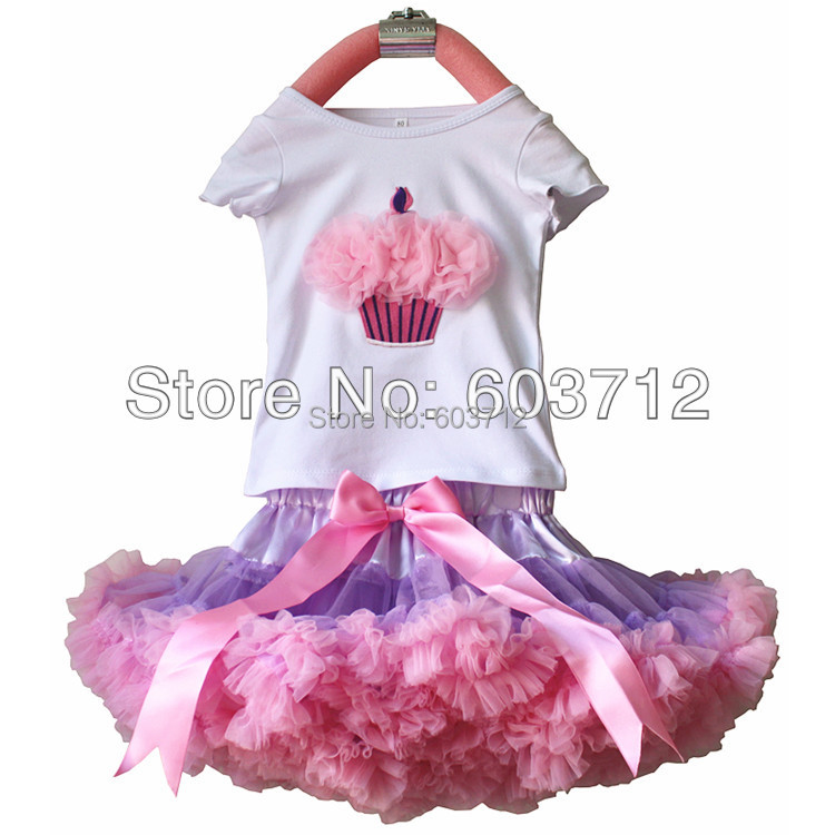 Baby Girl's Cake T-shirt with Matching Lavender Pink Pettiskirt Set ,Princess Summer Clothing Sets, Kids Garment Wear(China (Mainland))