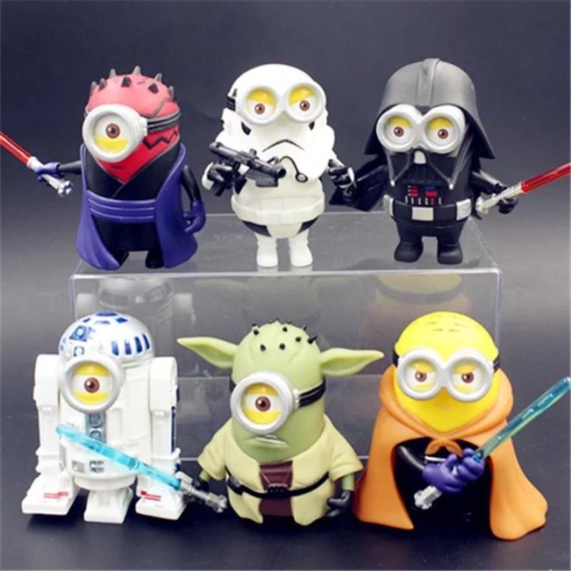 4 10CM 6PCS LOT New Childrens Cartoon font b Anime b font Minions Cosplay Star Wars
