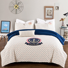 Sea Sailor American Applique Bedding Set 4pcs/set Bed Linings Bedclothes Bedsheet Sheet Pillowcase 100% Cotton Home Textile(China (Mainland))