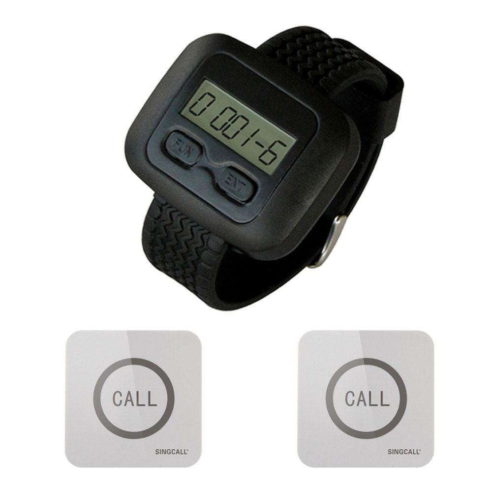 SINGCALL Wireless Service Calling Pager System, 1 Watch Receiver with 2 Touchable Bells,waterproof function(China (Mainland))