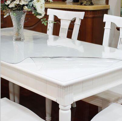 Transparent verre en plastique souple pvc jetable tanche - Nappe transparente epaisse pour table verre ...