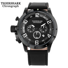 2016  TIGERSHARK popular brand Men watches chronograph sport fashion  Arabic number date quartz clock black leather wristwatches