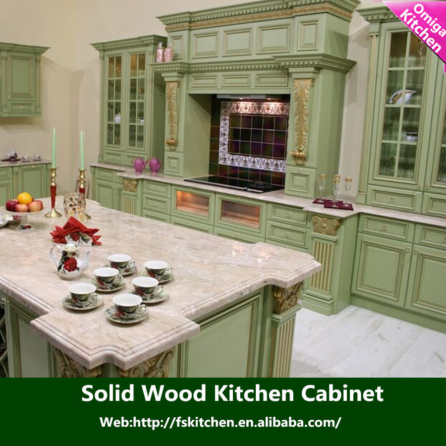 America cherry solid wood kitchen cabinet with island and for Cherry kitchen cabinets with glass doors