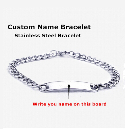 Customize Name Bracelet ,316 Stainless Steel Monogram Bracelet Bangles ,Men stainless steel bracelets ,Burn Letters Bracelets(China (Mainland))