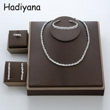 Hadiyana אופנה Irregural סלול מעוקב Zinconia תלבושות תכשיטי סט עבור גבירותיי טרנדי דובאי חתונה כלה תכשיטי סטי TZ8014(China)