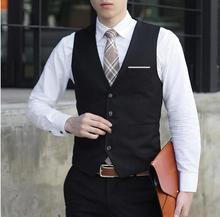 Wedding Groomsmen Best mens male  basic weskit waistcoat slim fit suit vest fashion blazer outerwear black plus size XXXL MJ68
