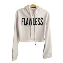 Women FLAWLESS Crop Hoodie Sweatshirt Jumper  Pullover Tops Coat(China (Mainland))