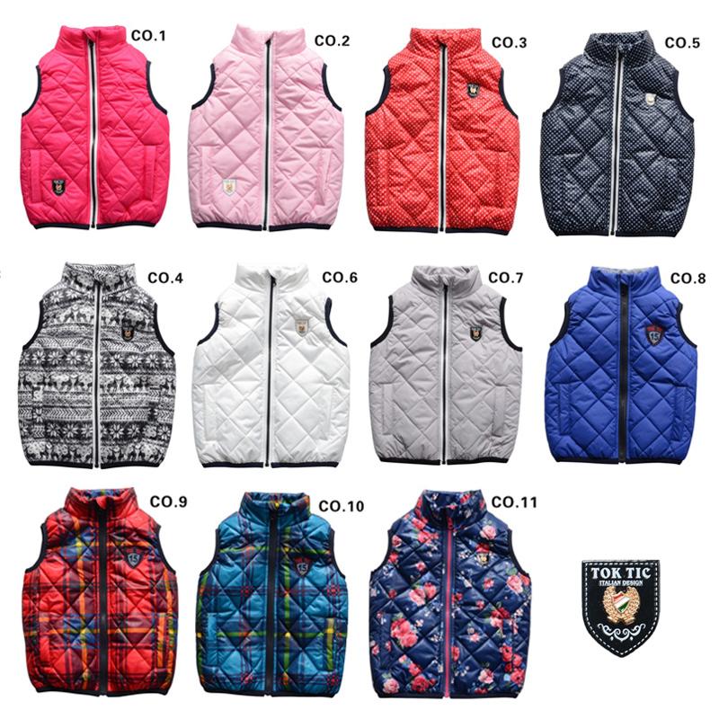 Tok Tic Brand Kids Spring & Autumn Warm Vest Kids Boys Vests for Girls Zipper Waistcoat Children Clothes Winter Vests 12colors(China (Mainland))