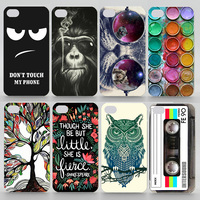 Case For iPhone 4s Matte Transparent Coloured Drawing Phone Cover For iPhone 4 Plastic Hard Phone Cases
