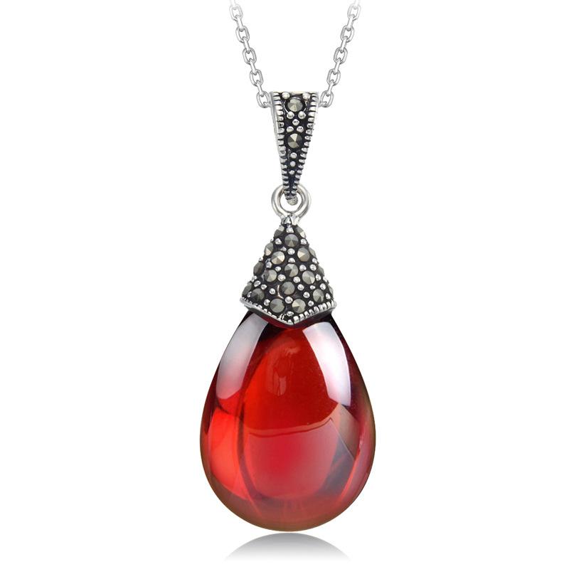 925 Sterling Silver Genuine Garnet Pendant Pendant Necklace Fashion retro new wholesale ladies<br><br>Aliexpress