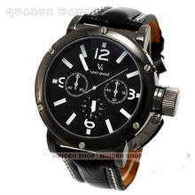 V6 reloj de la marca, cuero genuino de la correa, la serie estándar. hombre de cuarzo ocio exterior relojes a prueba de agua