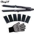 CkeyiN 4In1 Hair Curling Iron Heat Resistant Glove Ceramic Hair Curler Roller Electric Hair Straightener Crimper