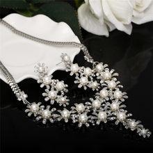 MINHIN מדומה פנינה תכשיטי סטי מקסים פרחי חרוזים שרשרת עגילי חתונה סטים לנשים דובאי תכשיטי סטים(China)