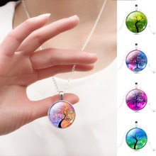 Harajuku Style Illusion Tree of Life Glass Cabochon Pattern Pendant Necklace with Silver Plated Necklace Chain for Women(China (Mainland))