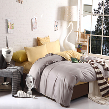 4pcs Faux Silk Feel 100% Cotton Bedding Set Duvet Cover Set Twin &Queen &King Size Silver-Gray And Beige(China (Mainland))