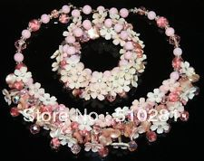 FREE SHIPPING!!!Pink and brick red freshwater pearl jewelry necklaceon +a mating blacelet HOT SALE MOON 658(China (Mainland))