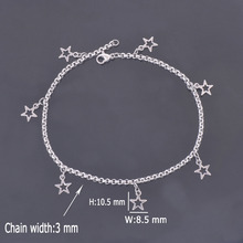 DIY 316L Stainless Steel Anklet Chain with Small Five-pointed Star Charms Stainless Steel Ankle Bracelet Foot Jewelry A009