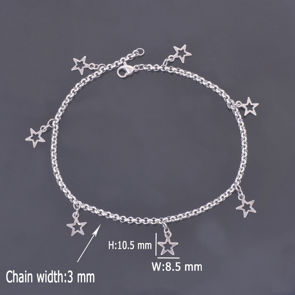 DIY 316L Stainless Steel Anklet Chain with Small Five-pointed Star Charms Stainless Steel Ankle Bracelet Foot Jewelry A009(China (Mainland))