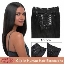 "Yotchoi clip in sets products 10pcs clip in human hair extensions 14""-30"" straight natural colour 5A grade human hair extensions(China (Mainland))"