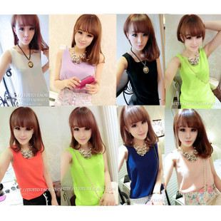 Clothes fashion women's top shirt neon all-match chiffon vest spaghetti strap