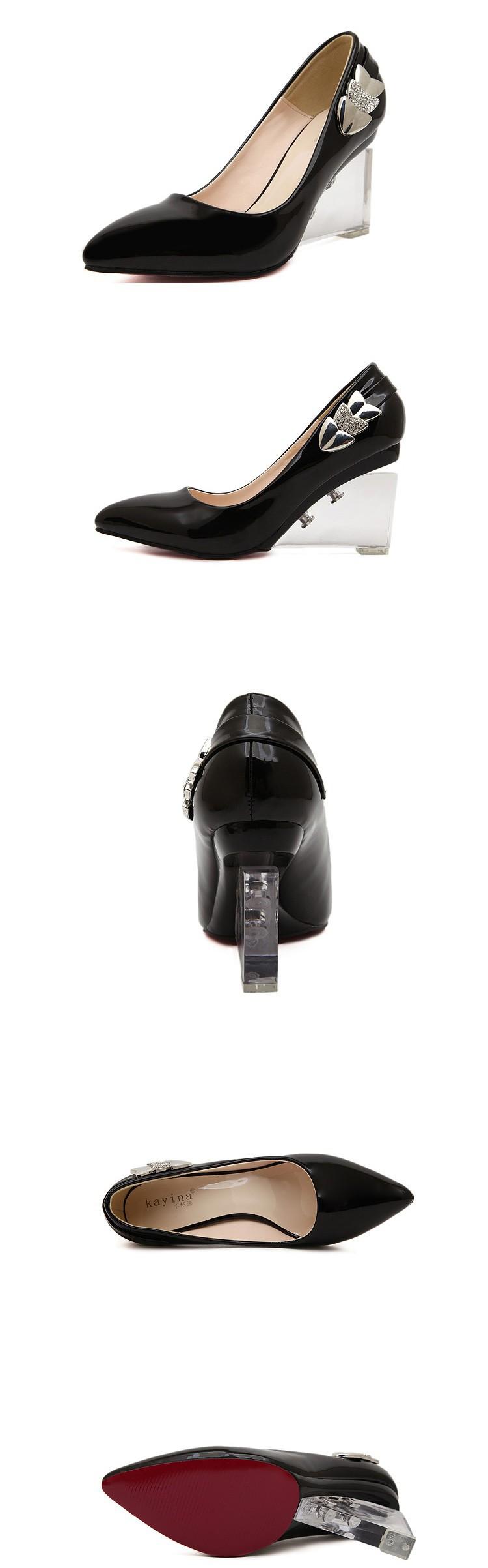 осенью новый сексуальный острые каблуки кристалл пряжкой туфли с насосами клин пятки обувь популярных женщин 611-5