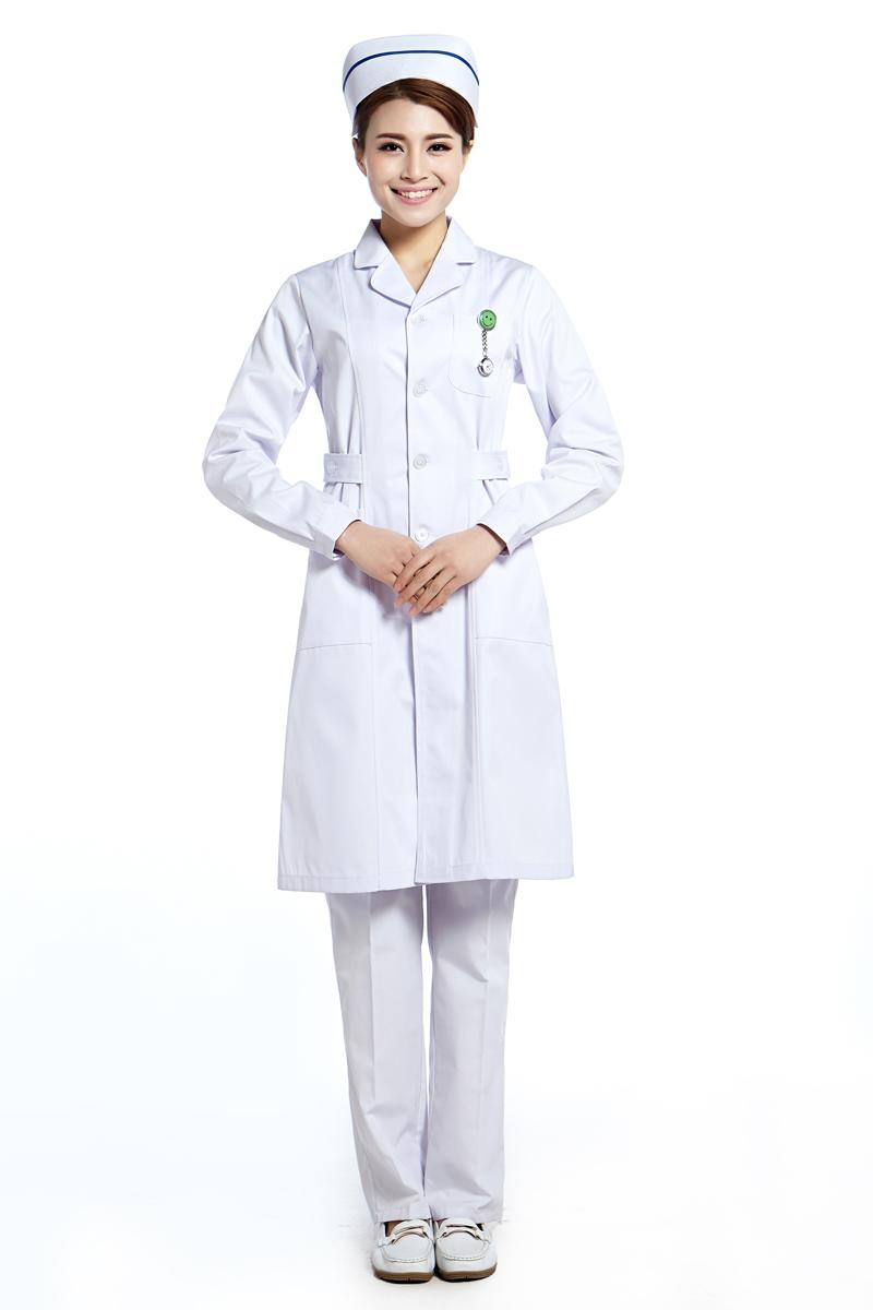 New Arrival Medical Clothing Scrubs Hospital Uniform Medical Scrubs White Cotton Long Sleeve V Neck Free Shipping(China (Mainland))