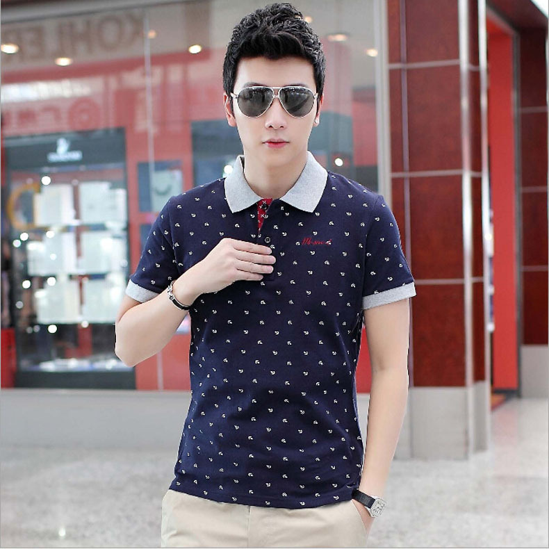 New 2015 Summer Style Hot Sale 3 Colors Skull Dots Cotton Short Sleeve Polo shirt Men Designer Brand Clothing shirts(China (Mainland))