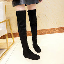 2019 kadın kış süet Slip-On yuvarlak ayak yüksek çizmeler over-the-diz ayakkabı Martin çizmeler botines de mujer(China)
