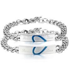"Romantic "" Real love "" Blue Heart Stainless Steel Promise Bracelet For Couple Men Women Valentine's Day Gift pulseras(China (Mainland))"