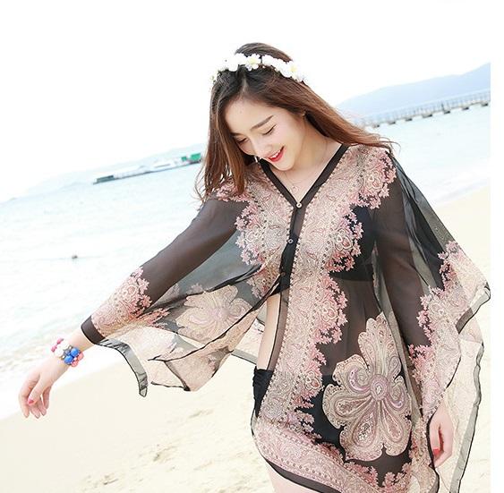 summer new chiffon printed loose cardigan shawl female thin beach Scarves kimono scarf cardigan Chiffon sexy Bikini cover up(China (Mainland))