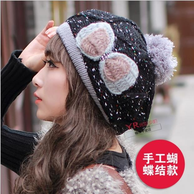 Vogue Women's Candy Beanie Knitted Caps Crochet Hats Curling Ear Protect Winter Cute Casual Cap Hand-woven flowers Women Beanies(China (Mainland))