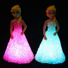 2016 New Romanti Kids Toys Elsa Anna LED Colorful Lights gradient crystal Night Light Led Lamp with battery toy holiday gift(China (Mainland))