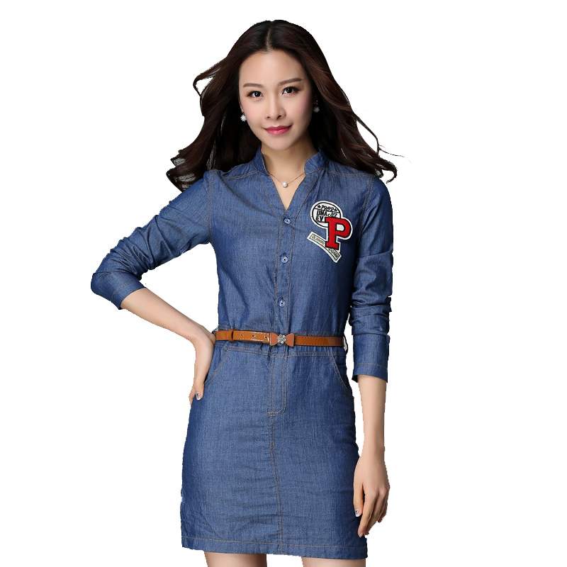 Beautiful 2016 Sexy Jeans Dress Summer Women V Neck Long Sleeve Denim Dress