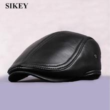 HL041 New Design Men's 100% Genuine Leather Cap /Newsboy /Beret /Cabbie Hat/ Golf Hat(China (Mainland))