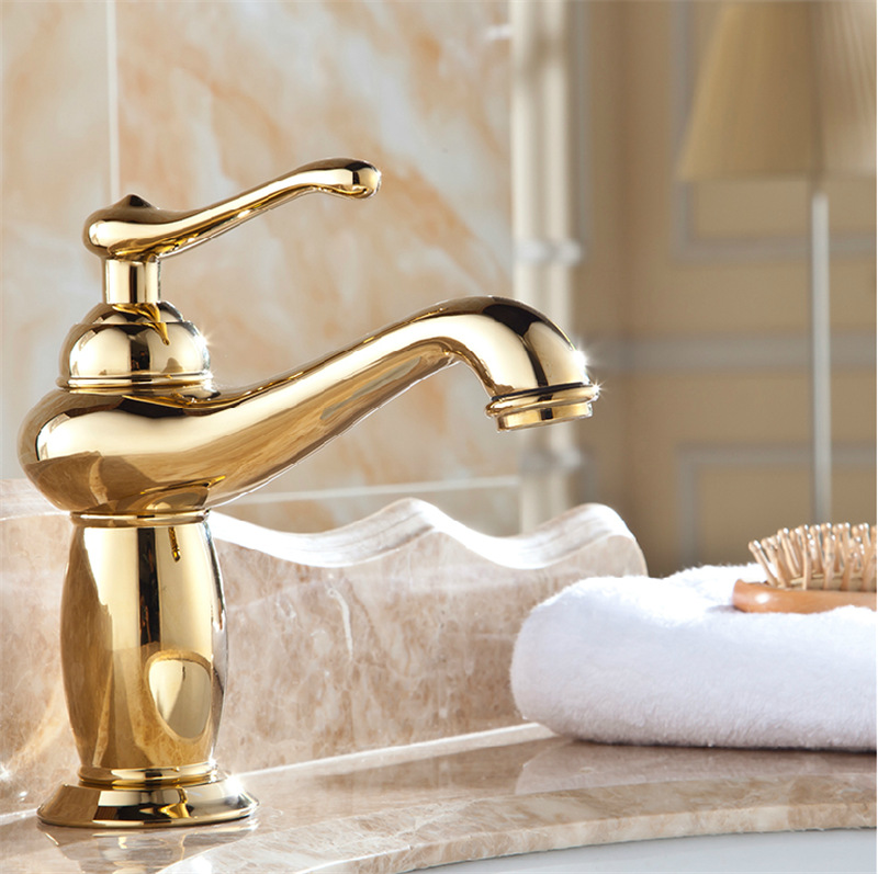 Buy free shipping lamp design modern bathroom faucet brass chrome faucets gold for Gold and chrome bathroom faucets