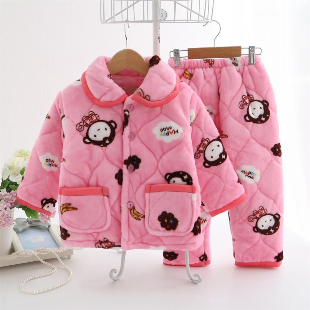 Autumn Winter children thickened quilted flannel pajamas for boys and girls Child coral fleece warm cotton sleepwear nightwear