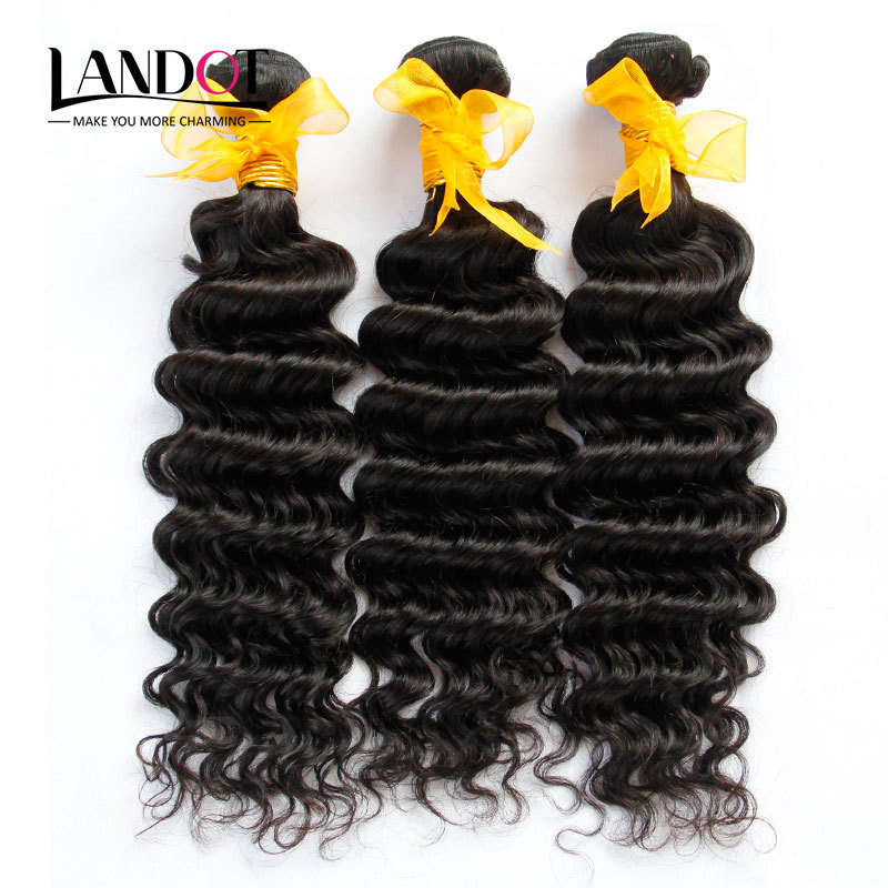 Unprocessed Malaysian Deep Wave Virgin Hair Extensions 3pcs/lot Malaysian Curly Hair Grade 6A Malaysian Human Hair Weave Bundles