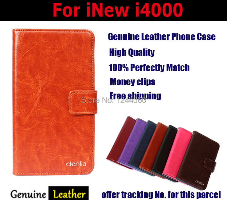 In Stock!Newest Luxury Flip Genuine Leather Customize Protective Phone Cover Case For iNew i4000 Card Holder Wallet Bags+Gift(China (Mainland))