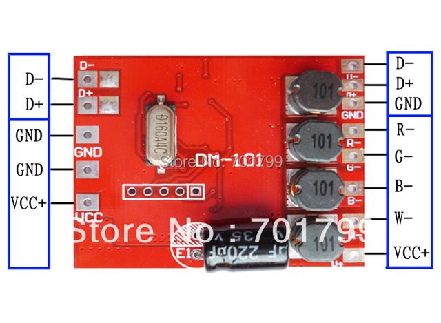 DM-101;4 channel RGBW dmx constant current decoder,DC12-24V input,500ma*4channel output