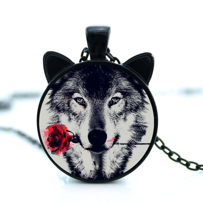 2017 Time-limited Collares Collier Maxi Necklace New Wolf With Flower Necklace Pendant Jewelry Personalized Picture Cn-00785(China (Mainland))