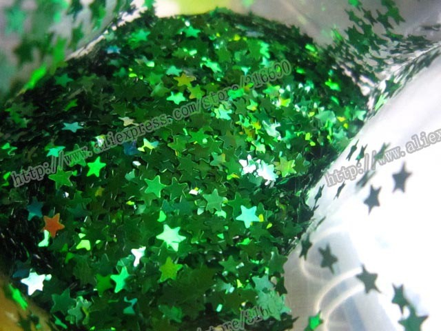 Free Shipping laser green star spangles for Nail Art Glitter Powder Decoration Slice Spangles30g/bag