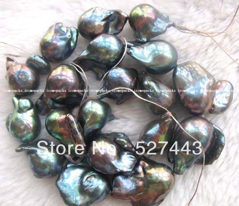 Wholesale fast 18 freshwater pearl black reborn keshi 22mm AAA grade Pearl Necklace Jewelry (A0322)<br><br>Aliexpress