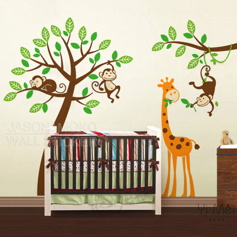 Buy cartoon tree decals monkeys giraffe - Stickers girafe chambre bebe ...