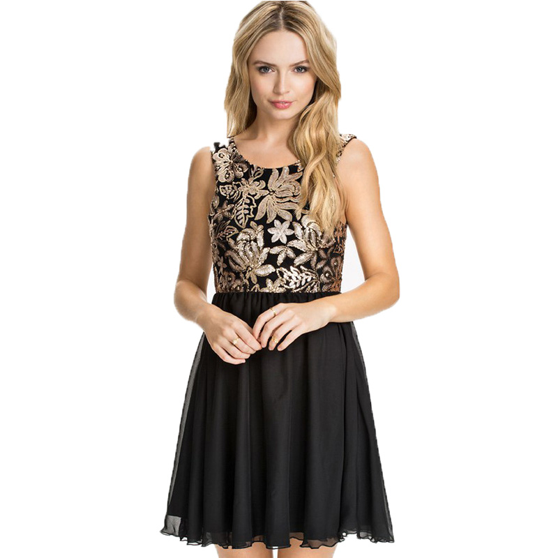 R70198 fashion design nice flower sequin dress hot sale plus size mini sequin dress high quality sleeveless backless dress(China (Mainland))
