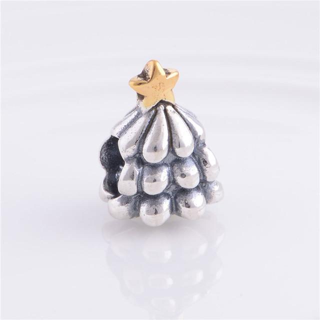 Стерлингового серебра 925 шарм скольжения бусины рождественская елка с позолоченными звезда DIY ювелирных изделий подходит пандора змея цепи шарм браслеты
